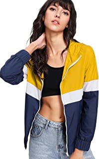 Floerns Women's Color Block Hooded Casual Thin Windbreaker Jacket