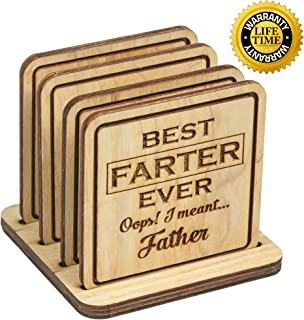 Navady Wood Funny Coasters with Holder Set of 4 (3.9 x 3.9 Inches), Funny Dad Gifts from Daughter Son, Father's Day Gifts, Dad Birthday Gifts, Wooden Coasters for Drinks (Best Father)
