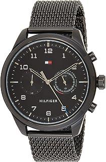 Tommy Hilfiger Mens Quartz Wrist Watch, Black Stainless Steel - 1791787