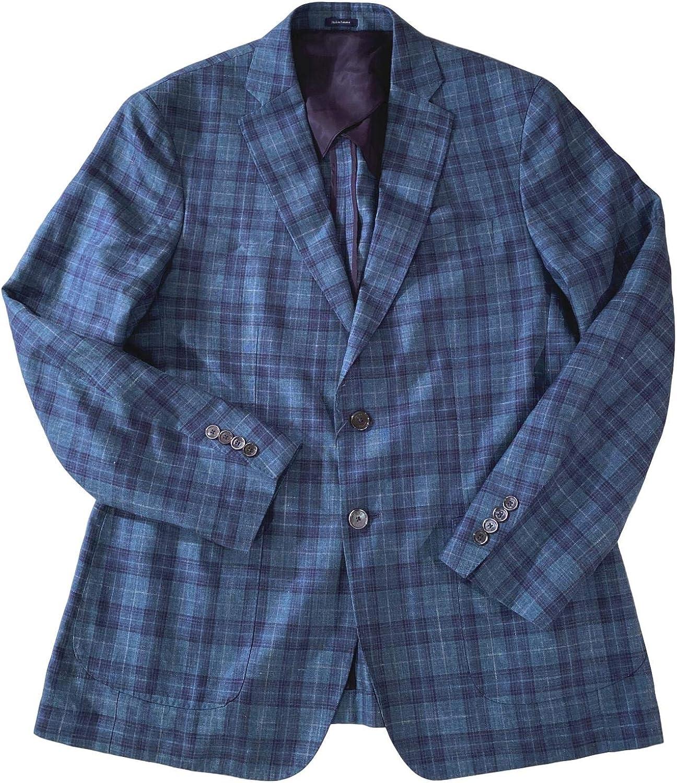 PETER MILLAR Collection Men's AEGIS Plaid Wool/Silk/Linen 2 Button 2 Vent Partially Lined Topstitched Blazer Gemma Size 42