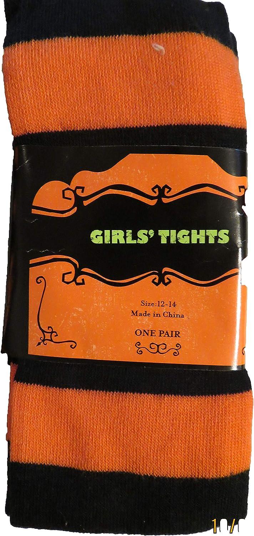 Orange Black Striped Tights Girls size 12-14, 73-95 lbs, 56-60