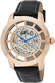 Invicta Mens Analog Automatic-self-Wind Watch with Leather Calfskin Strap 23639