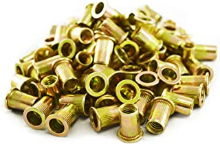 Ribbed L Series Rivet Nuts Material: Steel-Yellow Zinc 100 Piece Box by Jay-Cee Sales and Rivet Inc. Grip Range: .027-.165 Thread Size: 1//4-20 UNC