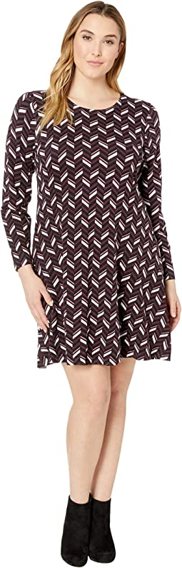 Plus Size Chevron Print Long Sleeve Flare Dress