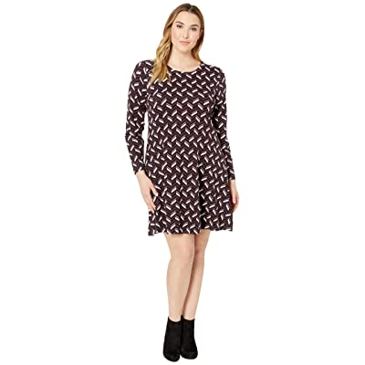 MICHAEL Michael Kors Plus Size Chevron Print Long Sleeve Flare Dress (Cordovan) Women