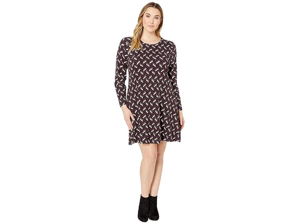 MICHAEL Michael Kors Plus Size Chevron Print Long Sleeve Flare Dress (Cordovan) Women