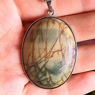 1 Pcs 2'' Hand Carved Natural Gemstone Jewllery Pendant with Sliver Chain,DIY Accessory for Necklace (Picasso Jasper)
