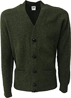 ASPESI Cardigan Uomo Verde con Tasche e Bottoni in Pelle 100% Lana Scozzese Made in Italy vestibilità Slim