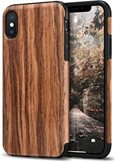 Tasikar Compatible with iPhone Xs Case/iPhone X Case Easy Grip Slim Case with Wood Grain Design Natural Feel Compatible wi...