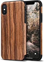 Tasikar Compatible with iPhone Xs Case/iPhone X Case Easy Grip Slim Case with Wood Grain Design Natural Feel Compatible with iPhone Xs/iPhone X (Redwood)
