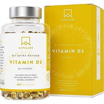 Vitamin D3 [ 5000 IU ] Hochdosiert - Kaltgepresstes natives Olivenöl extra für optimale Absorption - Ohne Gentechnik, glutenfrei und laktosefrei - Trägt zur Funktion von Knochen, Muskeln und Immunsystem bei - 365 Kapseln