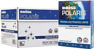 $58 » BOISE POLARIS Premium Multipurpose Paper, 8.5 x 11, 97 Bright White, 24 lb, 10 ream carton (5,000 Sheets)