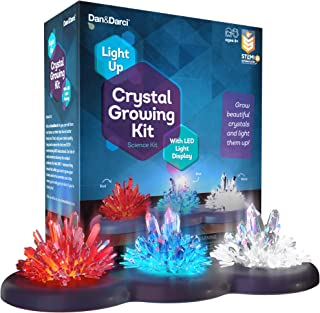 Light-up Crystal Growing Kit for Kids - Grow Your Own Crystals and Make Them Glow : Great Science Experiments Gifts for Kids, Boys & Girls - STEM Toys - Crystal Making Science Kit (Red White Blue)