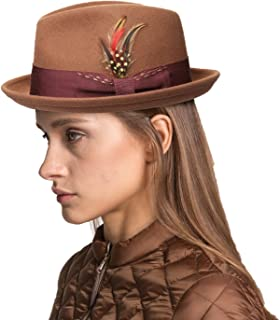 Unisex Classic Fedora Hats Wool Felt Trilby Hat with Bowknot Feather