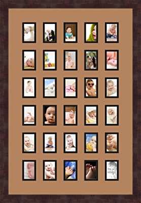 Art to Frames Double-Multimat-391-128//89-FRBW26061 Collage Frame Photo Mat Double Mat with 30-2x3 Openings and Espresso Frame