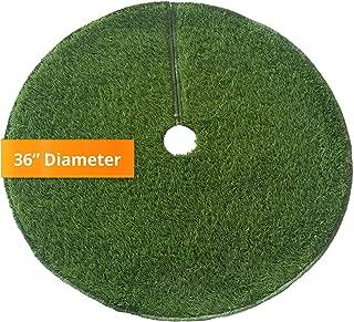 Zen Garden Artificial Grass Christmas Tree Skirt w/Anti-Slip Rubber Base w/Binding (36