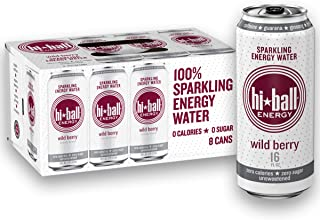 Hiball Energy Wild Berry Sparkling Energy Water, Zero Sugar and Zero Calorie Energy Drink, 16 Fluid Ounce Cans, 8 Count (0...