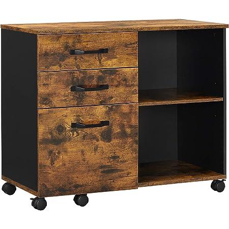 VASAGLE Caisson 3 tiroirs, Meuble Rangement Bureau avec Compartiments Ouverts, pour Format A4, Documents, Support d'imprimante, Style Industriel, Marron Rustique et Noir OFC041B01