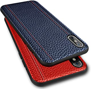 iPhone Xs Max Leather Case Cover - Thin Luxury Premium Genuine Leather No-PU Soft Flexible Bumper Non-Wallet Anti-Slip Scratch Protective Business iPhone Xs Max Cover Work with Wireless Charging