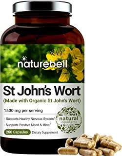 St John's Wort Complex Supplement, Made with Organic St John's Wort, 1500 mg Per Serving, 200 Capsules, Strongly Supports Positive Mood, Mind and Nervous System, No GMOs