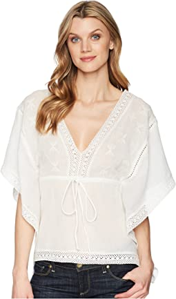 1627 White Cotton V-Neck Blouse