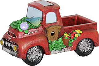 Exhart Solar Red Vintage Truck Garden Statue - Hand-Painted Red Truck Resin Statue Features Solar LED Accent Lights - Vintage Truck Decor, Country Rustic Outdoor Decorations - 11 x 6 Inches