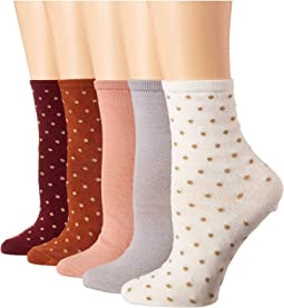5-Pack Lurex Polka Dot Solid Crew