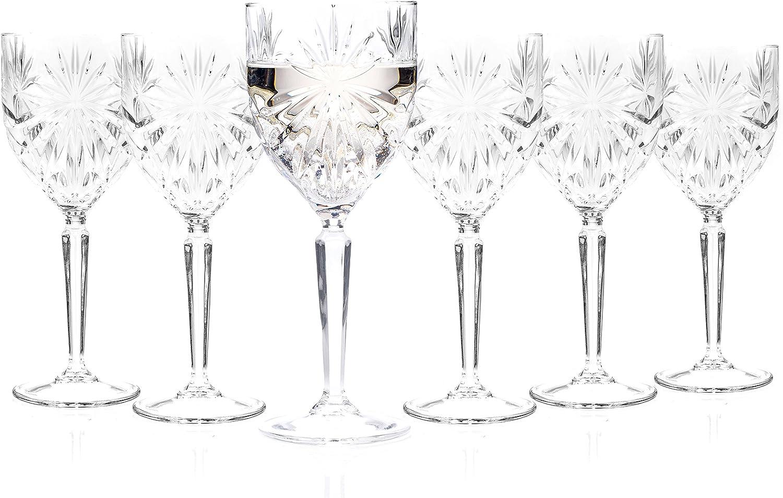 RCR Gafas Cristal de Lujo 26325020006 Oasis, boblets de Vino Blanco, 230mL/23cl, Juego de 6, Caja Fuerte para lavavajillas, Ideal para nuevos propietarios y recién Casados, 19 x 7.60, 6