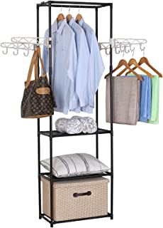 WOLTU SR0027 Penderie à vêtement ,Portant à vêtements Porte-manteau vêtements rack, 55x28,5x175cm,Noir