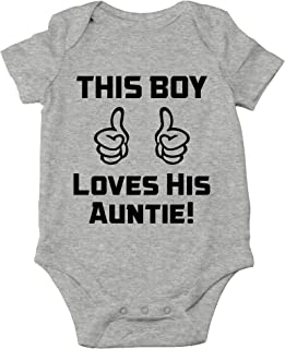 Crazy Bros Tee's This Boy Loves His Auntie! Funny Cute Novelty Infant One-Piece Baby Bodysuit