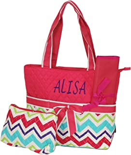 Personalized Quilted Boys and Girls Diaper Tote Bags (Multi Chevron Pink Trim)
