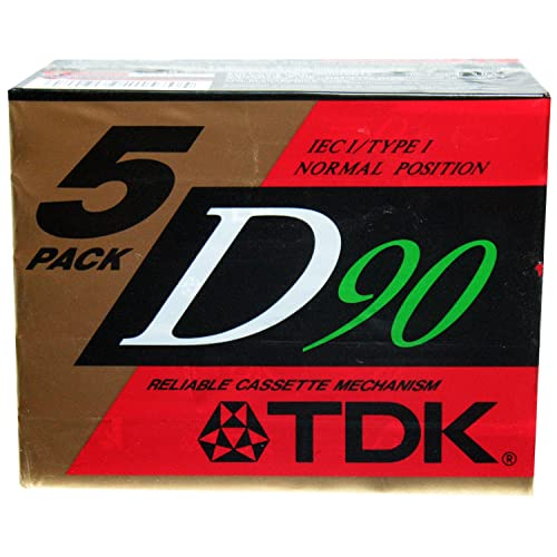 TDK Dynamic Performance D90 High Output IEC I / Type I - 5 Pack Audio Cassette Tapes