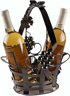 Clever Creations Wine Bottle Gift Holder Premium Metal Design Easily Fits 2 Bottles | Decorative Design | Great Gift Basket for Your Favorite Wine | Wide Stable Base | Grape Arbor Motif | Brown