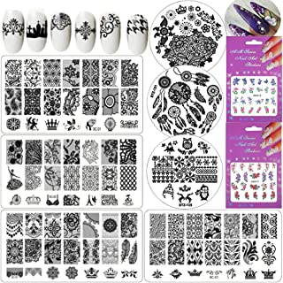 7PC Nail Stamping Kit Nail Art Stamping Plate Flowers Animal Image Print Template, Water Nail Decals for DIY Manicure Designs