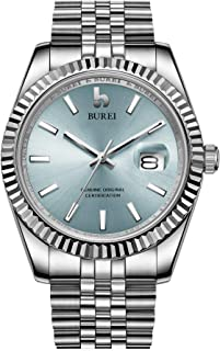 BUREI Men's Automatic Watch Analog Dial with Date Window Sapphire Crystal Stainless Steel Band and Case
