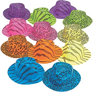 Fun Express - Neon Animal Print Gangster Hats for Party - Apparel Accessories - Hats - Party Hats - Party - 12 Pieces