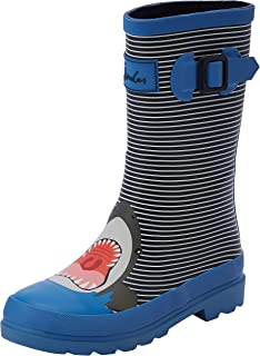 Joules Kids Baby Boy's Printed Welly Rain Boot (Toddler/Little Kid/Big Kid) Blue Stripe Shark 10 M US Toddler