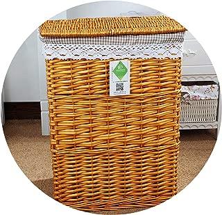 Krystal_wisdom 2019 Wicker Laundry Basket with lid for Clothes Rattan Basket Canvas Laundry sorter Basket Fabric Storage Basket Hamper Large,Honey Color