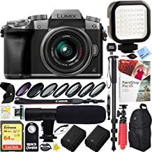 Panasonic LUMIX G7 Interchangeable Lens 4K Ultra HD Silver DSLM Camera with 14-42mm Lens Bundle with 64GB Memory Card, Microphone, LED Light and Accessories (17 Items)