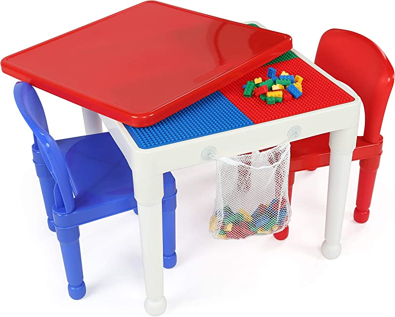 Tot Tutors Kids 2 In 1 Plastic Building Blocks Compatible Activity Table And 2 Chairs Set Square Primary Colors Renewed