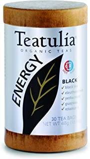 Teatulia Organic Black Tea, Energy, 30 Count