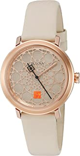 Bulova Women's Quartz Stainless Steel and Leather Dress Watch, Color:White (Model: 98L216)