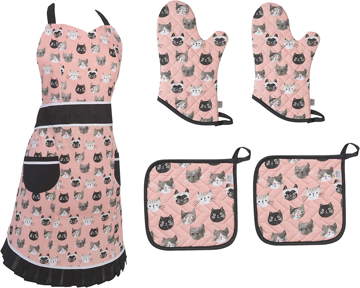 Cat Apron Oven Mitt Set Durable Adjustable Kitchen Cooking Baking Chef Cat Design Apron Oven Mitts Pot Holders 5 pc