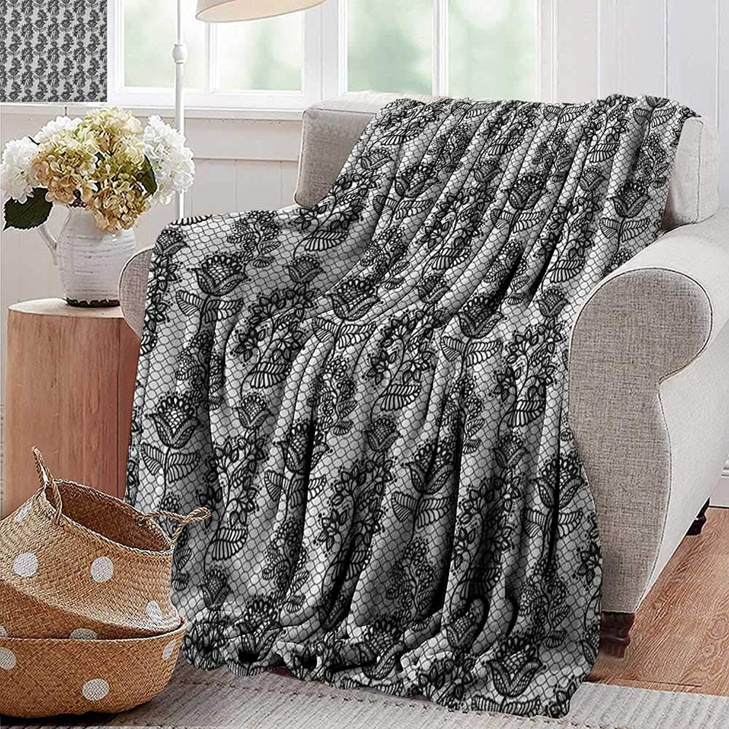 XavieraDoherty Weighted Blanket,Black and White,Lace Style Victorian Flower Motifs on Wavy Backdrop Western Girls Pattern, Black White,300GSM, Super Soft and Warm, Durable 50 x70