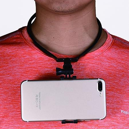 【E-COAST】首掛けスマホスタンド スマホホルダー 3-5.5インチ携帯汎用スタンド ペンダント式 ハンズフリー 自撮りツール 携帯便利 アウトドアに最適 (ブラック)