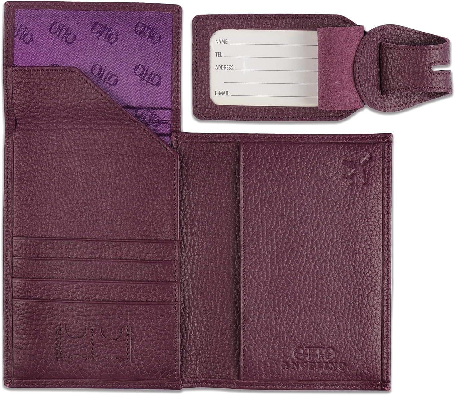 Otto Angelino Porta Pasaporte de Cuero Real - Bloqueo de RFID, Compartimiento para Billetes de avión, Etiquetas para Equipaje, Unisex