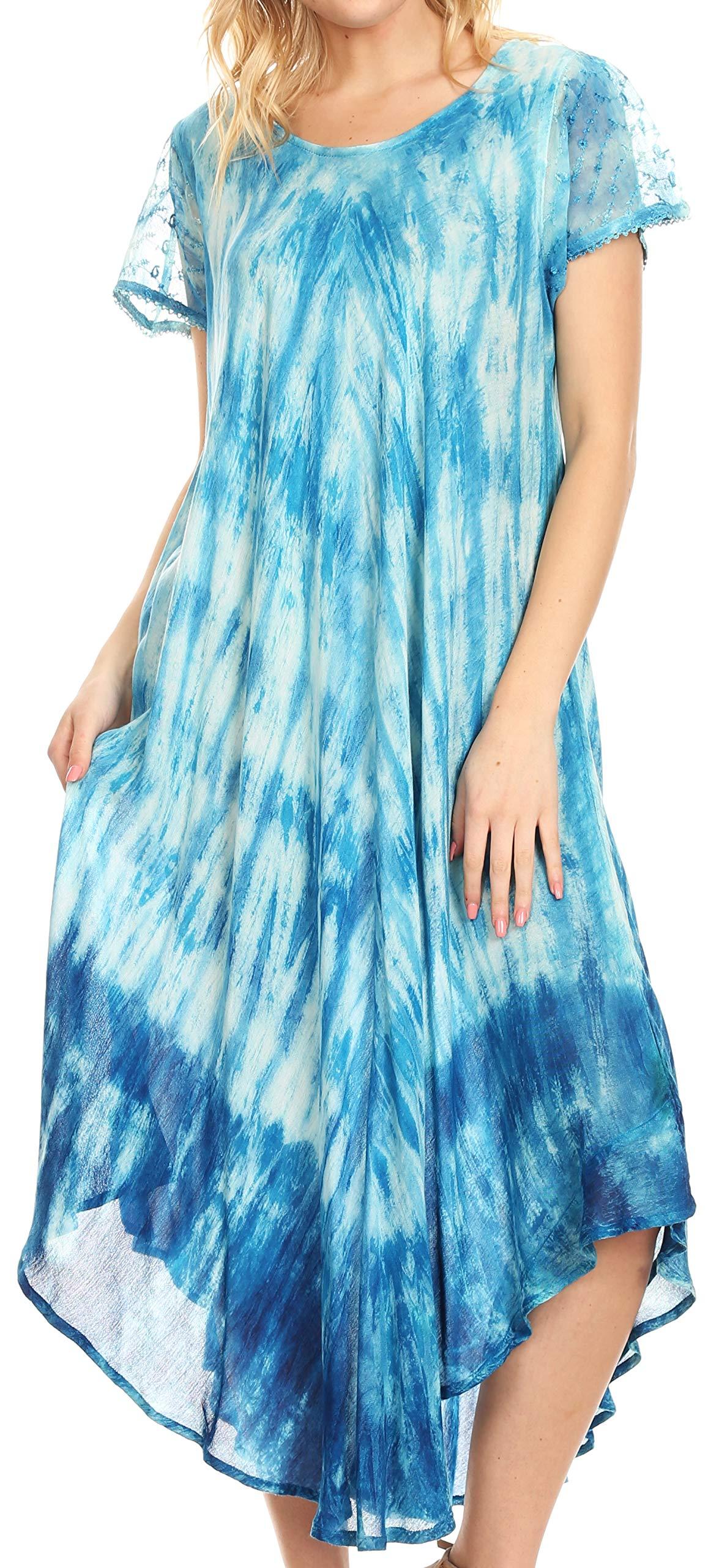 Available at Amazon: Sakkas Jonna Women's Short Sleeve Maxi Tie Dye Batik Long Casual Dress