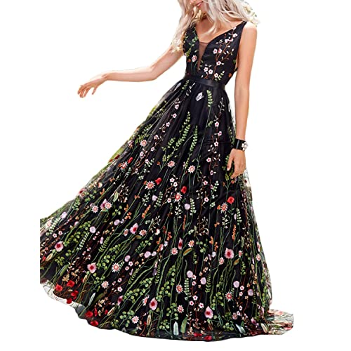 9ba9f04675 Vanial Women s Floral Embroidered Prom Dress Formal Evening Gown V241