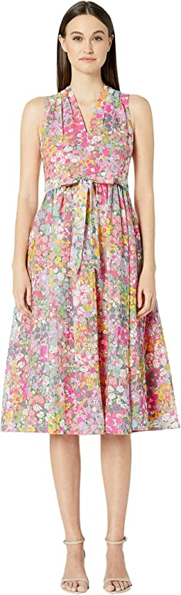 Floral Dots Burnout Dress