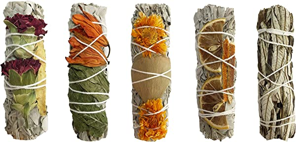 White Sage Smudge Kit 4 White Sage With Carnation Licorice Stick Lily Peppermint Marigold Ginkgo Leaves Dried Lemon Dried Tangerine 1 Yerba Santa Healing Purifying Meditating Cleansing